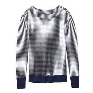 Athleta Studio Boat Neck Striped Navy Sweater XS
